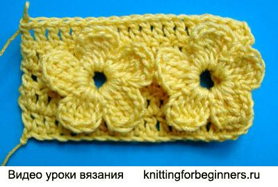 узор вязания крючком, как вязать цветы, видео урок вязания крючком, вязание крючком