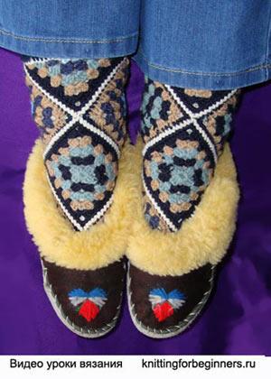 носки крючком, как вязать носки крючком, вязание носков, как связать носки, носки из мотивов, вязаные носки, вязание носков, красивые носки , видео урок вязания