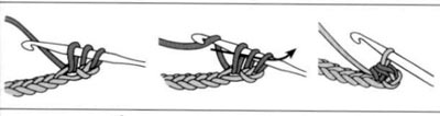полустолбик с накидом, вязание крючком