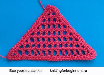 сетка филе, как вязать треугольник, треугольник крючком, треугольник, вязание крючком, сетка филе, косынка крючком