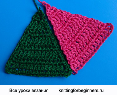 треугольный мотив, треугольник крючком, как вязать треугольник, вязание крючком, урок вязания крючком