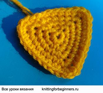 треугольный мотив крючком, вязание крючком, как вязать треугольник, треугольник крючком