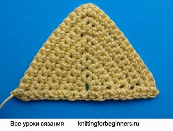 Вязание крючком, треугольник крючком, как вязать треугольник, треугольник, как вязать треугольник крючком, треугольный мотив крючком, треугольный мотив