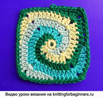спираль, как вязать спираль, квадрат спираль, спиральный узор