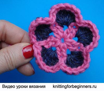 как вязать цветок крючком, вязаные цветы, как вязать цветок инструкция, вязание крючком, видео урок вязания