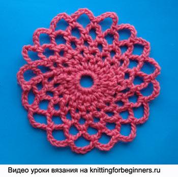 как вязать круг, как вязать круглый мотив, круглый мотив, ажурный мотив