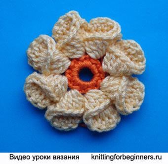 как связать цветок, видео урок вязания, вязание цветка, вязаный цветок