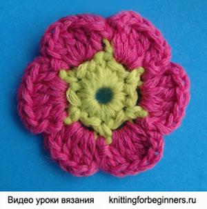 вязаные цветы, урок вязания крючком, мастер класс, видео урок вязания, как вязать цветок, вязаные цветы, вязанные цветы