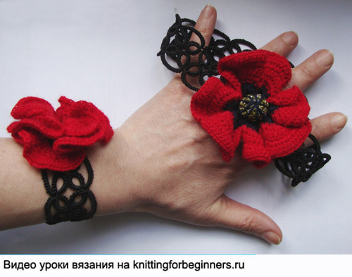 маки, украшение маки, poppy crochet set
