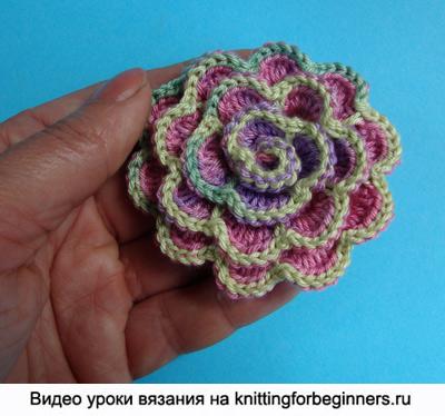 вязаные цветы, как вязать цветок, вязание крючком, видео урок вязания