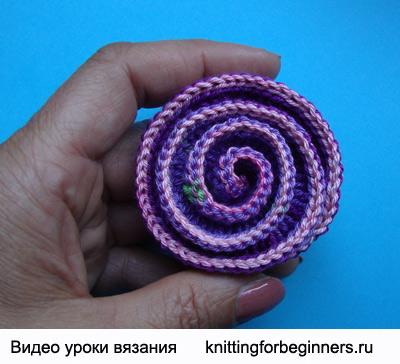 вязаные цветы, как вязать цветок, вязание цветка крючком, спиральный цветок