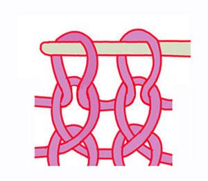 лицевая скрещенная петля, вязание на спицах