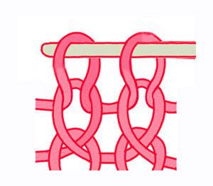 скрещенная лицевая петля, вязание на спицах