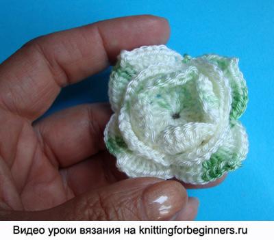 вязание цветка схема, вязаный цветок, как вязать цветы крючком, цветок крючком, видео урок вязание цветка крючком, вязание крючком