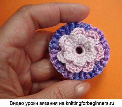 вязание цветка, вязаный цветок