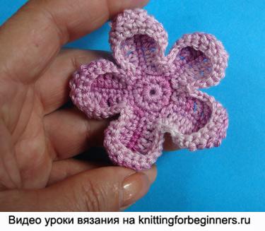 вязаный цветок, как вязать цветок, цветок, вязание крючком, видео урок
