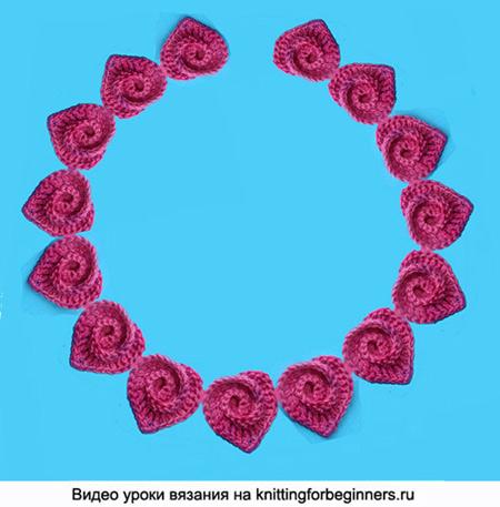 валентинка, сердечки, ожерелье, вязание крючком