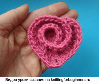валентинка, спиральная валентинка, как вязать валентинку, сердечко крючком