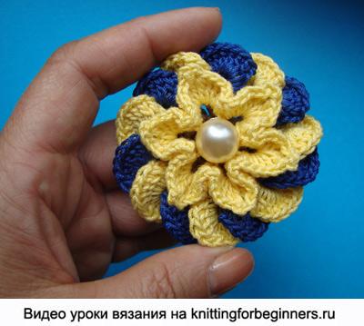 как вязать цветок крючком, вязаный цветок, вязание цветка крючком, видео урок