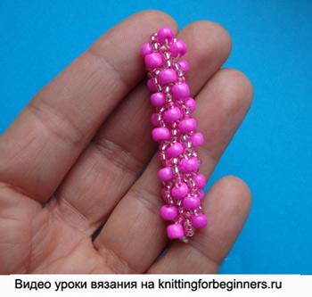 турецкий жгут, вязание с бисером, вязание бисером, урок вязания бисером