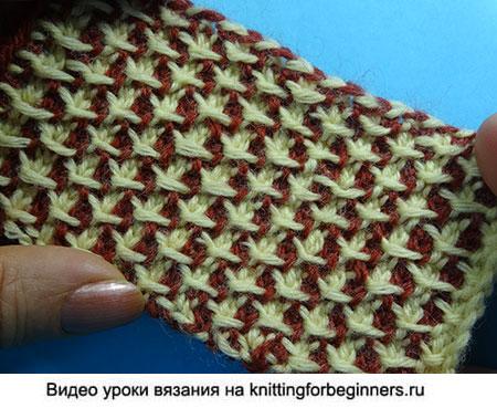 жаккард крючком, узоры вязания, тунисское вязание